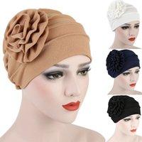 Il cappello del fiore LNRRABC solido di colore di modo delle donne Baggy laterale decalcomanie della testa del turbante Cap Accessori