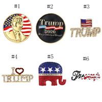 Trump Брошь Блестящий американский флаг Брошь Pin Памятная Брошь Кристалл Стразы броши штыри отворотом для 2020 президентских выборов