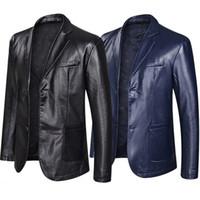 Gli uomini di cuoio casuale giacca sportiva di moda allentato risvolto tuta in pelle Taglie Top Nero Blu Maschio