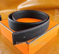 2020 hombres de la manera de la correa de cuero de lujo de negocios Smooth Cinturones H hebilla para hombre de lujo de la correa con el rectángulo de envío