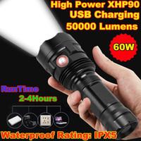 손전등 토치 슈퍼 밝은 XHP90 USB 충전식 LED 강력한 토치 방수 사냥 빛 사용 26650 배터리 사용