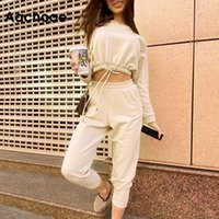 Aachoae Solid 2 Piece Set Women Loose Batwing Sleeve Hooded Cropped Tops Calf Length Sport Casual Pants Women Outfits Tracksuits