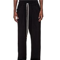 Sıcak 20FW Kurdele İpli Pantolon High Street Moda Siyah Sweatpants Erkekler Kadınlar Günlük Basit Parça Pantolon Elastik Bel Pantolon