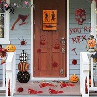 Ужасные Хэллоуин Кровавая Handprint стены стикеры двери окна пола Декаль наклейки Halloween Party украшения привидениями дом пропеллер