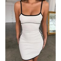 Summer Sheath Casual Dress 2020 Women Vintage Elegant Party Dress Vestidos Black White Bodycon Dresses Backless