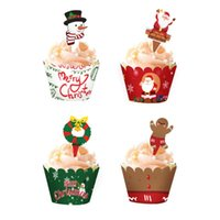 12set Weihnachten Kuchen-Deckel und Wrappers Party Supplies Schneemann Weihnachtsmann Ren-Elf-Weihnachtsdekor-Kuchen-Backen-Tools