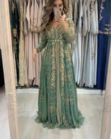 2020 Koyu Adaçayı Arapça Fas Kaftan Gelinlik Modelleri A Hattı Aplike Altın Dantel Boncuklu Müslüman Uzun Kollu Örgün Abiye Giyim Balo Parti Elbise