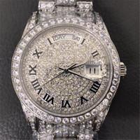 2020 Full Diamond Luxury Mens Designer relojes 18k Oro Sapphire Movimiento Mecánico Automático Sweep Auto-Minding Wristwatches Orologio D