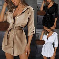 Shirt Dress Summer Woman Solid Color OL Belt Lapel Neck Dresses Women Fashion Casual Clothes Womens Slim Sexy