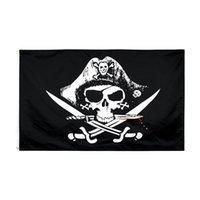 Schädel und Crossbones Sabes Swords Flagge Jolly Roger Pirat Totmann Brust Hochwertige direkte Fabrik 100% Polyester 90 * 150 cm 3x5 fts