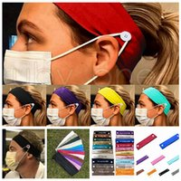 Face Mask Headband Holder Sports Knitted Headbands With Button Ear Savers Headband For Face Cover Party Favor RRA3574