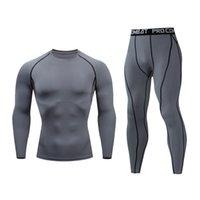 Беговые наборы тренажерный зал Фитнес спортивный костюм мужские длинные рукава брюки с компрессором Быстрые воздушные дышащие колготки одежда