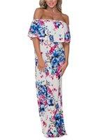 Womens Slash Neck Split Dress Flora Designer Waist Down Summer Beach Dress Famale Fashion Style Clothes
