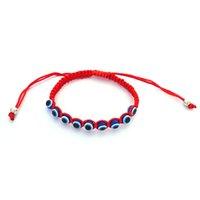 10pcs étnica artesanal corda Bule Turco Eye Pulseira Corda Vermelha Trançado Pulseira Homens Mulheres ajustável Amizade Jóias