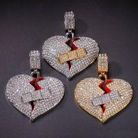 Mens Hip Hop ожерелье Iced Out сердца ожерелье Мода Разбитое Сердце ювелирные изделия бинты ожерелье