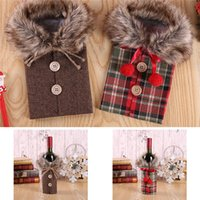 Heißer kreativer Weindeckel mit Bogen-Plaid-Leinen-Flaschen-Kleidung mit Flusen kreative Wein-Flaschen-Abdeckung Mode Weihnachtsdekoration