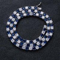 Hip Hop Bling fuori ghiacciato 1 Row bianco blu catena CZ Pietra Tennis monili della collana di zirconi Collane Uomini Rapper