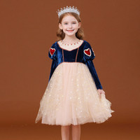 2020 새로운 눈 공주 코스프레 의류 냉동 여자 의상 어린이 블링 드레스 키즈 빛나는 드레스 코튼 파티 의류 4-12 년