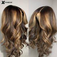 레이스 가발 꿀 금발 갈색 하이라이트 믹스 컬러 13x6 정면 가발 옴브 브라질 5 * 5 실크베이스 프론트 인간의 머리카락