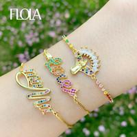 Charme Bracelets Flola Rainbow Love Mama pour femmes Gold Cristal Vierge Marie Charms Cz Zirconia Multicolor Bijoux Brtc08