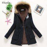 Fitaylor Yeni Kış yastıklı Coats Kadınlar Pamuk Pamuk Ceket Orta Uzun Parkas Kalın Sıcak Kapşonlu Yorgan Kar Dış Giyim Abrigos 200921