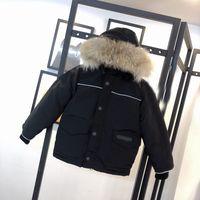 Высочайшее качество Детская куртка мода дизайнер зима вниз пальто открытый термальный ветрозащитный водонепроницаемый настоящий волк мех