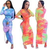 Tasarımcı Kadınlar Uzun Elbise Bodysuit Ince Seksi Kravat Boya Pileli Fermuar Uzun Kollu Bayanlar Yeni Moda Elbise Etek