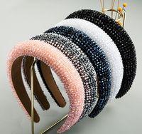 El yapımı kristal boncuklu yüksek son saç aksesuarı lüks sünger pembe saç bandı kadın moda geniş kumaş kafa