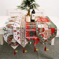 180 * 35CM جدول عيد الميلاد عداء الشرابة مفرش المائدة الجدول علم 2020 لوازم عيد الميلاد شجرة بابا نويل طباعة حزب الجدول سطح المكتب الديكورات D9807