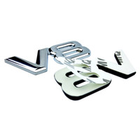 Auto de Metal Alloy 3D V8 Logo Motor Tronco Deslocamento traseira do carro emblema decalque Chrome V8 Side Wing Emblem Sticker Car Styling