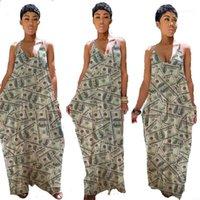 Ropa verano de las mujeres con cuello en V dinero impreso Abkle de longitud vestidos de fiesta de la playa ocasional de la manera del partido con paneles falda