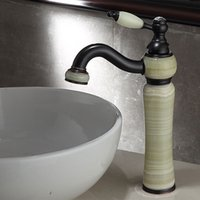 Rubinetti del lavandino del bagno Rubinetto Black Bras Bras Materiale della giada Freddo e singolo rubinetto del bacino del bacino, miscelatore del rubinetto dell'acqua