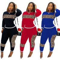 WomenTracksuit Leopard Camouflage Splicing Tracksuit Two Pie...