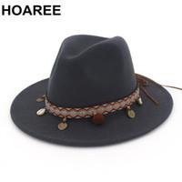 HOAREE Cinza escuro Fedoras Chapéus para mulheres estilo étnico Wool Hat Trilby Feminino Aba larga Vintage Autumn Marca Panama Hat
