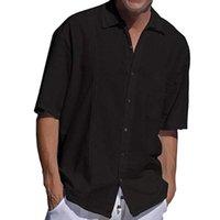 Feitong Повседневный Хлопок Summer New 2020 Пляж карман рубашки Кнопка нагрудные с коротким рукавом Твердый черный белая рубашка