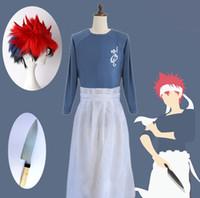 Alimentos guerras shokugeki não soma yukihira souma cosplay traje uniforme terno camisa avental cachecol peruca conjunto de urso peruca vermelha