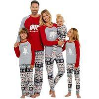 가족 일치하는 복장 크리스마스 크리스마스 긴 소매 파자마 세트 여성 남자 아기 아이 잠옷 나이트웨어 패션 년 PJS