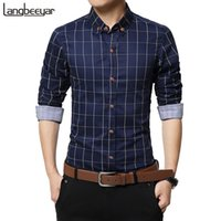 New Autumn Fashion Brand Clothes Slim Fit Long Sleeve Plaid ...