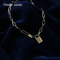 Monili senza tempo Wonder Titanium Lucchetto Girocollo Collana inossidabile delle donne gotico Boho Top Ins gotico Giappone regalo Trendy 1644