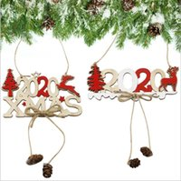 Forniture Albero di Natale ornamento partito Lettera Twine Wooden Sign Ciondolo di natale in legno decorazioni creative Christmas Tree Decoration GWC2332
