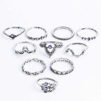 Knuckle Midi Ringen 10 stks / set Boheemse Vintage Crystal Stone Crown Fatima Hand Ring Vrouwen Geschenken Trouwringen Sets