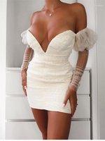 إمرأة مصمم فستان مثير ديب V الرقبة الترتر اللباس الطبيعية موضة اللون مطوي فساتين شبكة نصب منصة