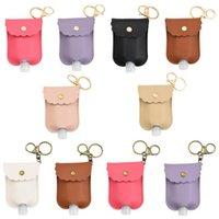 NEW PU Leather Hand Sanitizer Bottle Holder Keychain Bag with 30ML Bottle Hand Soap Bottle Holder Key Ring Pendants Cover DHL