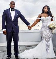 2020 éraflé sirène longue robe de mariée longue manches tulle applique balayer robe de mariée sur mesure