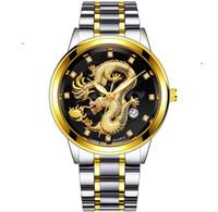2020 Nuovo cinese calendario cinghia d'acciaio sollievo orologio stile drago totem 8220 uomini di stile caldo vigilanza di affari 10pcs