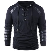Erkek arkadaşı İpli Hoodie Kazak Kazak Tam Kollu Gotik camisetas için Erkek Moda Sahte Deri Lace Up Hoodie