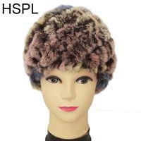 Gorro / gorras de cráneo hspl sombreros de piel rusa 2021 al por mayor hechos de punto gorrillos cálidos damas de punto sombrero colorido sombrero invierno casual