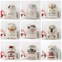 Père Noël Sac de jute Sacs Monogrammable Sac à cordonnet de Noël Sac cadeau toile Père Noël Sac Reindeers Sac Totes bonbons présent Pocket Pouch B7643