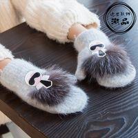 2020 Новых девушки Зимних Симпатичные вязаных перчаток Warm Wool Kids меховых перчатки для 4-10Yrs детей рождественских подарков