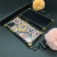 الملونة الأفعى الجلد غطاء مربع الهاتف القضية لسامسونج غالاكسي ملاحظة 20 الترا 10 زائد 9 8 S8 S9 S10 S20 Ultra J4 J6 A10S A20S A50 A70 M30S